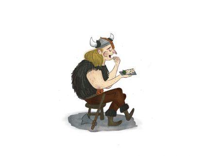 Viking Savors a Lefse Wrap